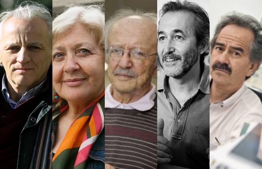 Alex Grijelmo, Mónica González, Javier Darío Restrepo, Gumersindo Lafuente y Jorge Cardona.