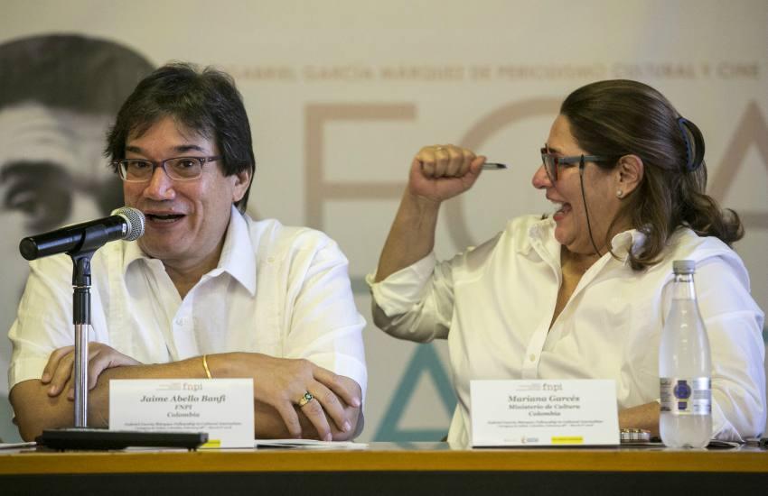 Jaime Abello, director general de la FNPI, y Mariana Garcés, ministra de cultura en la Beca Gabo, realizada en Cartagena del miércoles 28 de febrero al martes 6 de marzo de 2018. Foto: David Estrada.