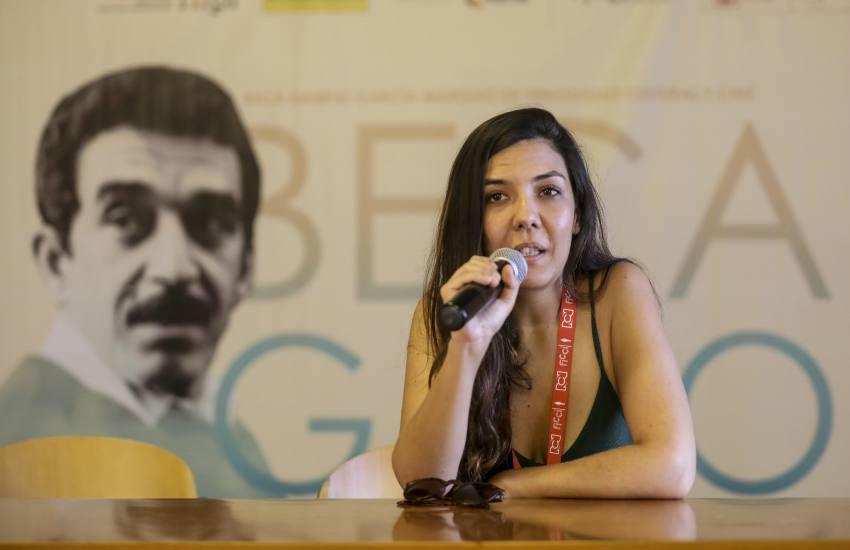 Laura Mora, directora de 'Matar a Jesús' en conversatorio durante la Beca Gabo 2018. Foto: Joaquín Sarmiento.