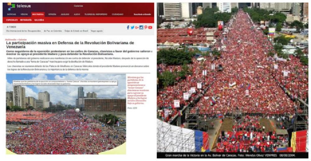 Telesur usó una imagen de 2004 para acompañar una noticia publicada en 2016.