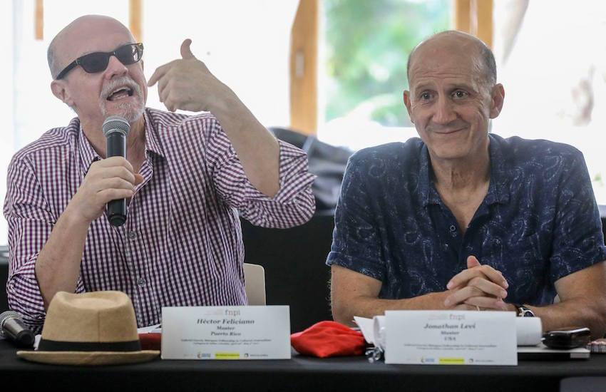 Héctor Feliciano y Jonathan Levi, maestros directores de la Beca Gabo de periodismo cultural. Foto: Joaquín Sarmiento.