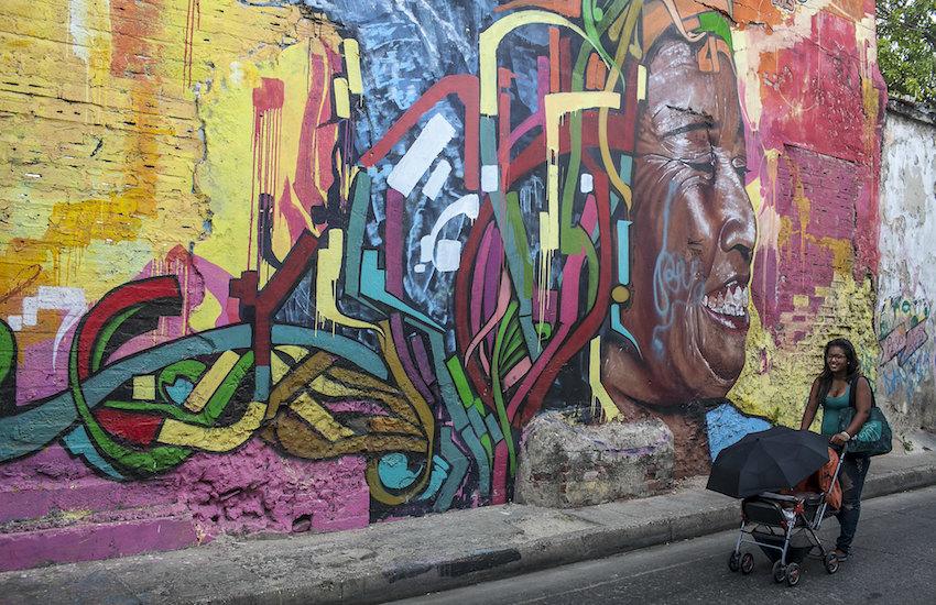 Grafiti en el barrio Getsemaní, Cartagena. Foto: Joaquín Sarmiento / Fundación Gabo.