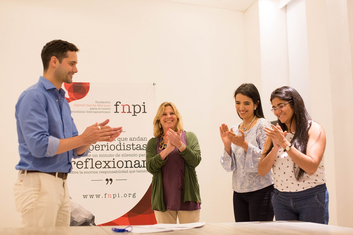 Luis Quevedo, Roxana Tabakman y Fernanda Hernandez eligieron los finalistas de la categoría Televisión y Video. Foto: Rafael Bossio Fotografía/FNPI