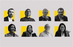 Arriba: Ignacio Escolar, Damián Osta, Olga Lucía Lozano, Ismael Nafría. Abajo: Marina Walker, María Catalina Colmenares, Rosental Alves, Flor Coelho.