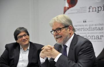 Jaime Abello, director de la FNPI y Michael Reid, maestro del taller. Foto: Guillermo Legaria.