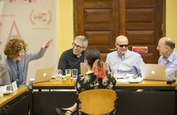 Stephanie Zacharek, David Trueba, Héctor Feliciano y Jonathan Levi, maestros de la Beca Gabo 2018. Foto: David Estrada Larrañeta / FNPI.