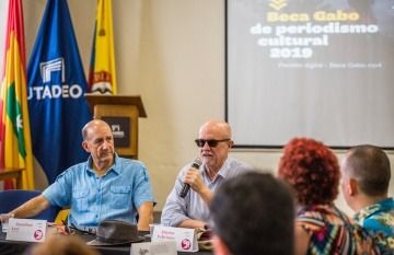Jonathan Levi y Héctor Feliciano, maestros directores de la Beca Gabo 2019. Foto: Rafael Bossio / Fundación Gabo.