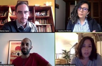 Captura de imagen de la charla web 'Nuevas miradas y narrativas sobre drogas desde el periodismo'.