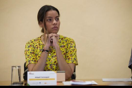 Abigail Carrasquel es periodista audiovisual y considera que el intercambio de experiencias acerca del periodismo de soluciones le ayudará a implementar el enfoque en su trabajo cotidiano. Foto: Emmanuel Upegui - FNPI.