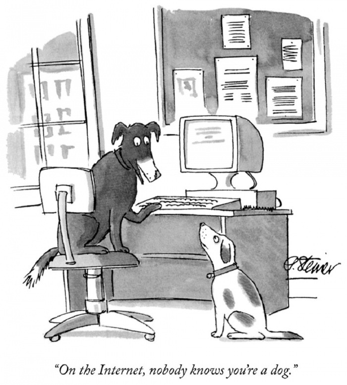 """En internet, nadie sabe que eres un perro"". Caricatura de Peter Steiner / The New Yorker, 1993"