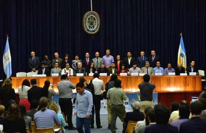 Fotografía del evento de lanzamiento del frente en la Universidad Rafael Landívar / PlazaPublica.com.gt