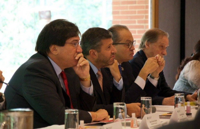 De izquierda a derecha: Jaime Abello, Werner Zitzmann, Fernando Carrillo y Jean-François Fogel   Fotografías: Andrés Bernal para la FNPI