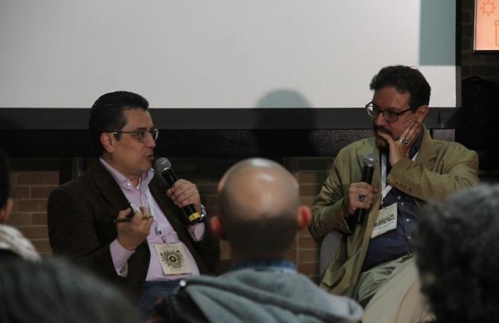 Daniel Lizárraga (izquierda), maestro del taller 'Investigar la basura', participó en una charla en la cumbre Latinoamérica Recicla. Foto: Mateo G. Rivas / FNPI