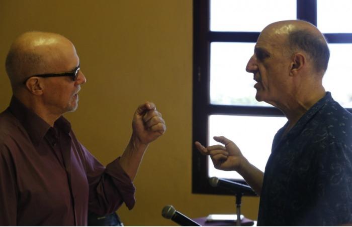 Héctor Feliciano y Jonathan Levi, maestros directores de la Beca Gabo. Foto: David Estrada Larrañeta / FNPI