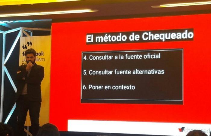 Pablo Fernández explicando el método de Chequeado   Fotografía: Consejo de Redacción en Twitter