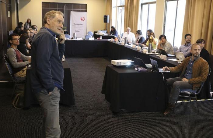 Jean-François Fogel (izquierda) y Gideon Lichfield (derecha). Foto: Joaquín Sarmiento / Fundación Gabo.