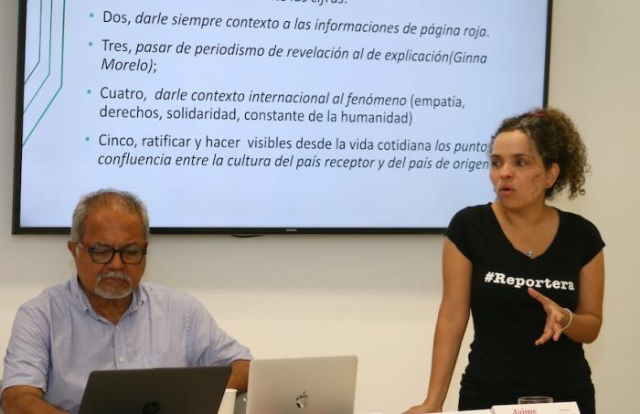 Tulio Hernández y Ginna Morelo en 2019. Foto: Guillermo González / Fundación Gabo.