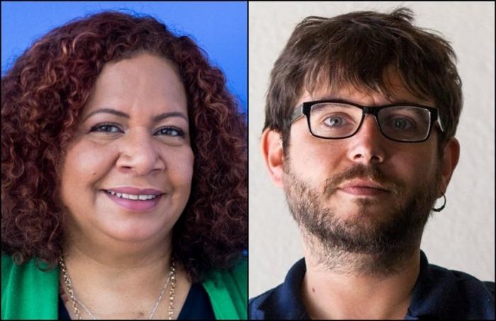 Luz Mely Reyes, directora general de Efecto Cocuyo, y Alberto Pradilla, reportero de Animal Político