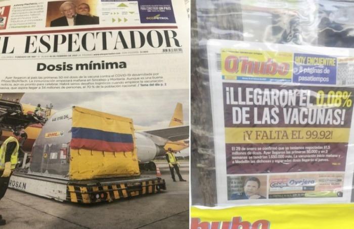 Portadas de los diarios colombianos El Espectador y Q'hubo el martes 16 de febrero.