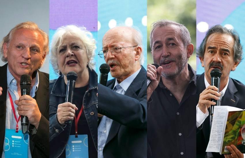 Álex Grijelmo, Mónica González, Javier Darío Restrepo, Gumersindo Lafuente, Jorge Cardona. Fotos: FNPI.