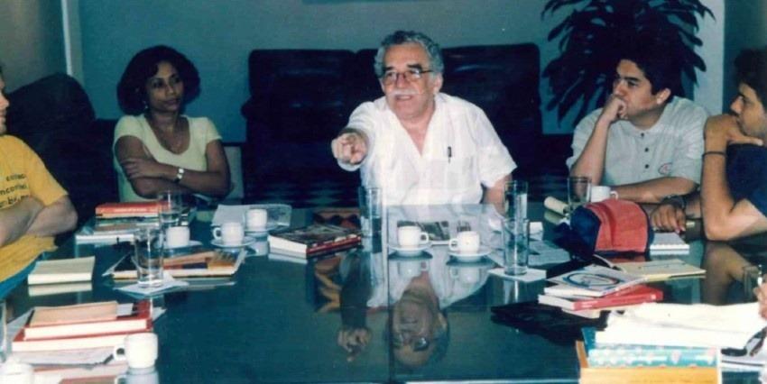 Gabriel García Márquez durante una la primera actividad oficial de la FNPI, un el seminario sobre libertad de prensa y protección a los periodistas. Cartagena, 1995.