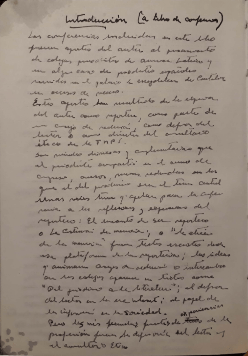 Fotografía del manuscrito que Javier Darío Restrepo escribió de su puño y letra para el libro Pensamientos.