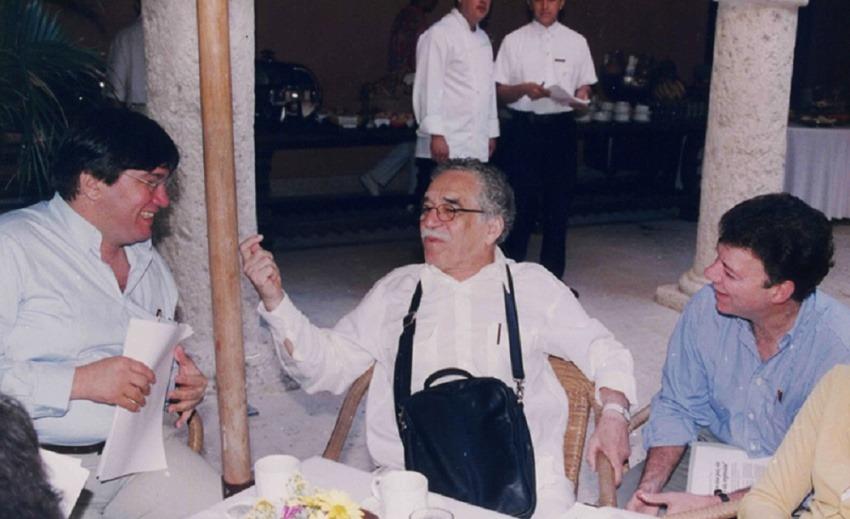Jaime Abello Banfi, Gabriel García Márquez y Juan Manuel Santos Calderón.