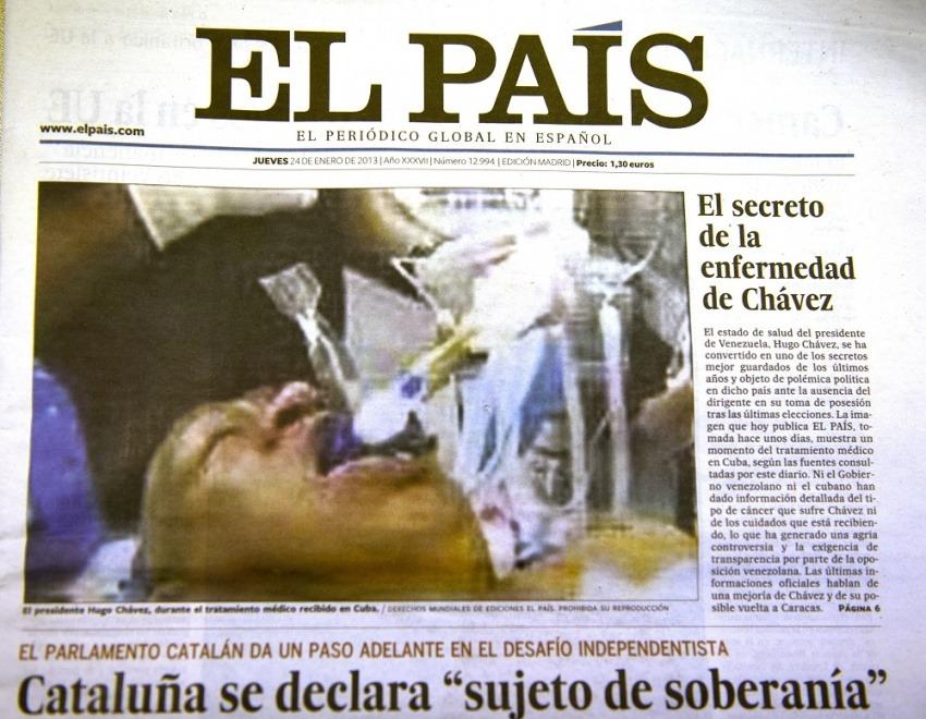 La imagen ocupó la primera plana de El País.