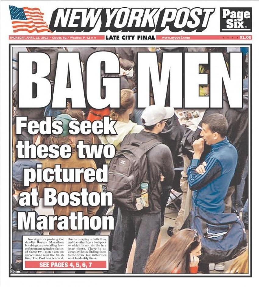 El NY Post se negó a rectificar pese a haber publicado esta foto de sospechosos que finalmente nada tuvieron que ver con los atentados / Newseum
