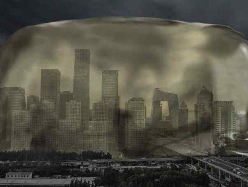 El aire de Pekín se solidifica. Noticia inventada por TheOnion.com