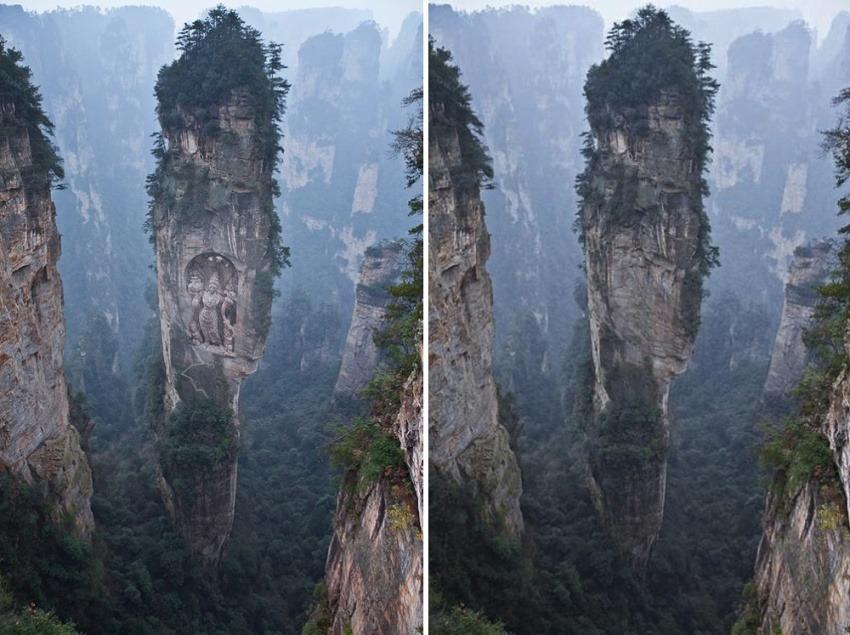 A la izquierda, la famosa fotografía retocada por @Archistophanes. A la derecha, el paisaje original