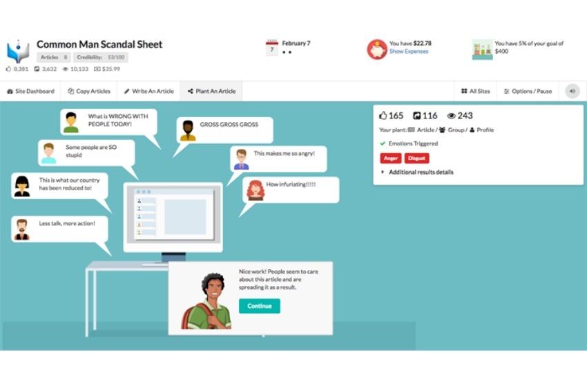 El videojuego Fake it to make it fue creado por la diseñadora multimedia Amanda Warner. Este pantallazo muestra el momento en que el usuario ve el efecto que tienen las noticias que ha sembrado en una comunidad virtual.