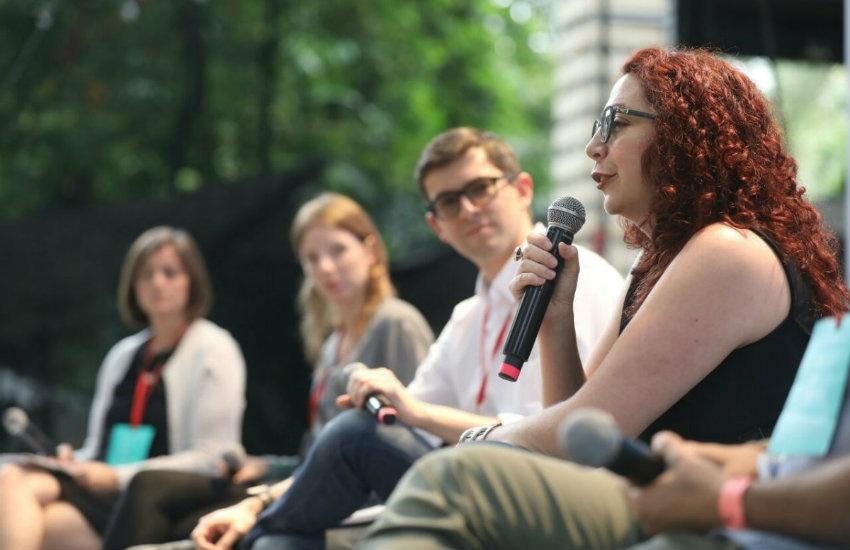 Participantes en el conversatorio | Fotografía: Joaquín Sarmiento.