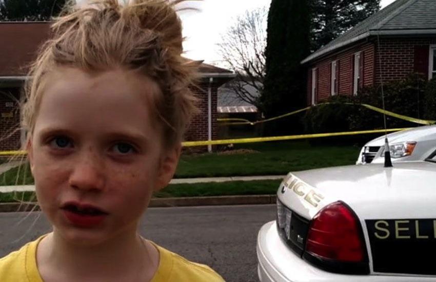 Kate Lysiak reportando desde la escena un asesinato en su barrio / Fotografía: Orange Street News