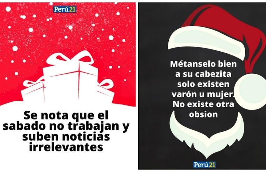 Algunas de las tarjetas navideñas creadas por Perú21 con los comentarios de sus lectores