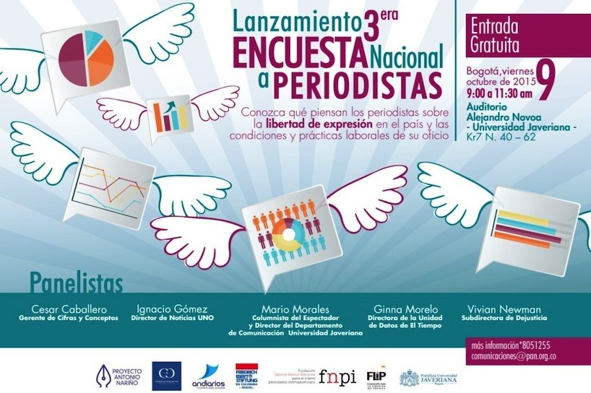 Afiche de invitación a la presentación de la III Encuesta Nacional de Periodistas.