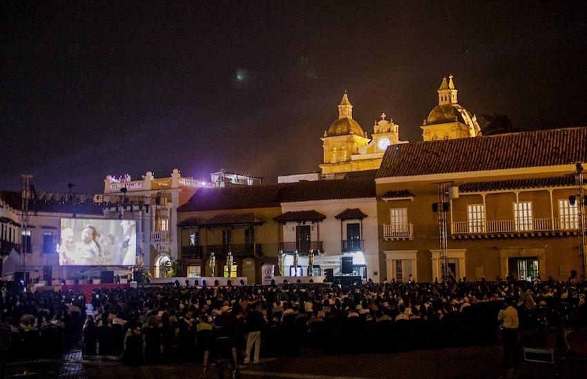 Proyección durante el Festival Internacional de Cine de Cartagena 2014. Foto: Álvaro Delgado/FNPI.