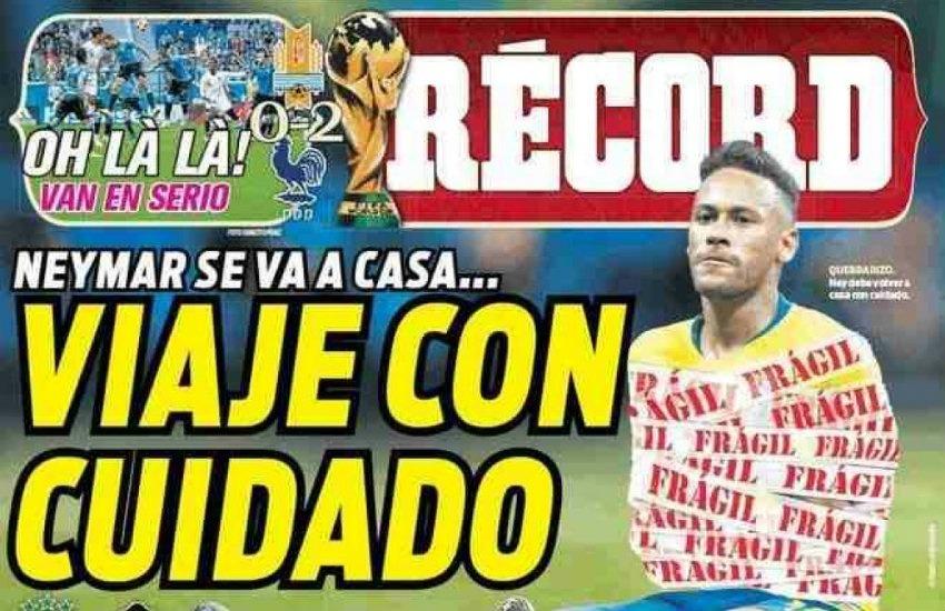 Portada del diario mexicano Récord tras la eliminación de Brasil ante Bélgica en Rusia 2018