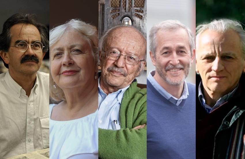 Jorge Cardona, Mónica González, Javier Darío Restrepo, Gumersindo Lafuente y Álex Grijelmo.