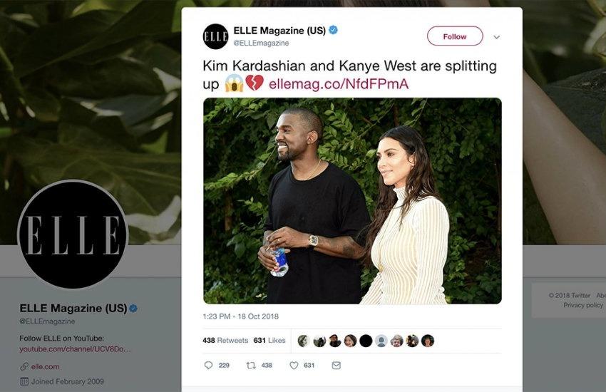 Captura de pantalla del tuit donde Elle anunciaba la separación de Kim Kardashian y Kanye West.