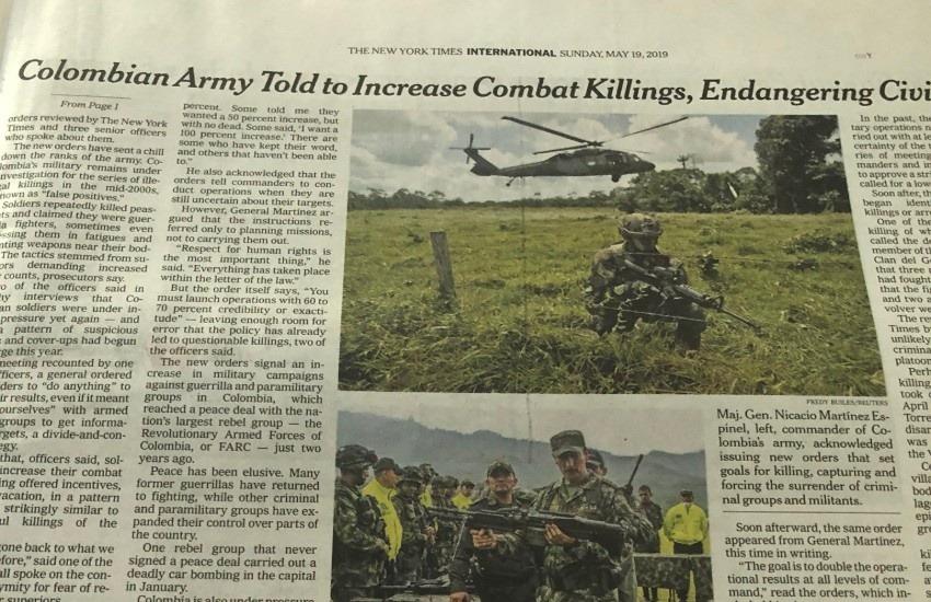 El artículo de The New York Times que desató una tormenta política y periodística en Colombia.