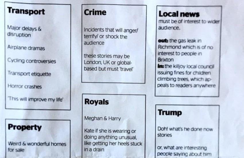 El polémico temario del Evening Standard.