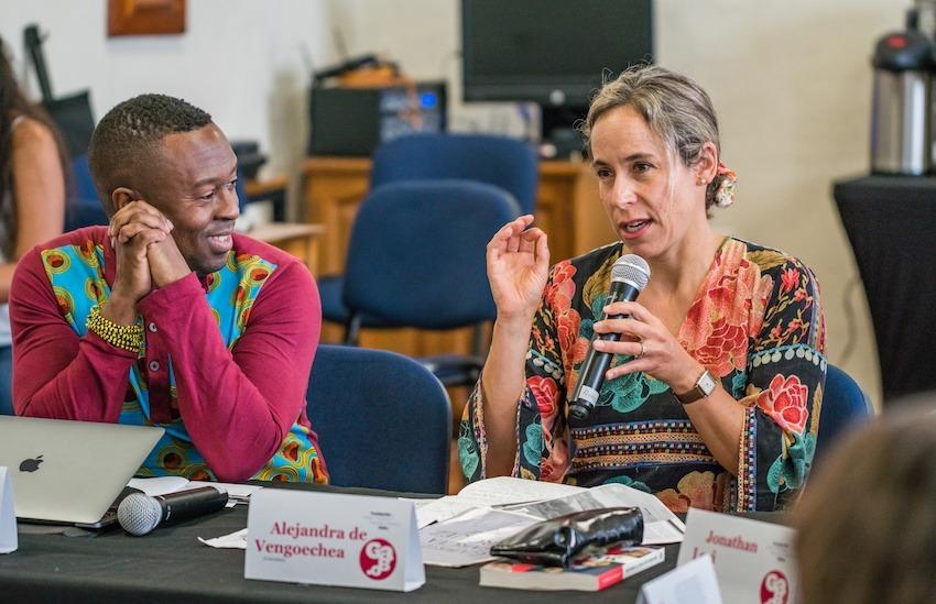 Jason King y Alejandra De Vengoechea, maestros invitados de la Beca Gabo 2019. Foto: Rafael Bossio / Fundación Gabo.
