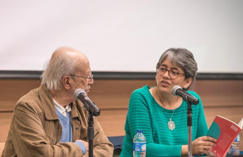 Javier Darío Restrepo y Yolanda Ruiz durante el Encuentro de directores y editores de medios colombianos 2018. Foto: Diana Sánchez / Fundación Gabo.