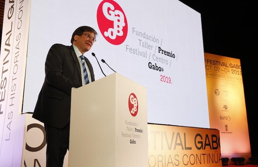 Jaime Abello en la ceremonia del Premio Gabo 2019. Foto: Archivo Fundación Gabo.