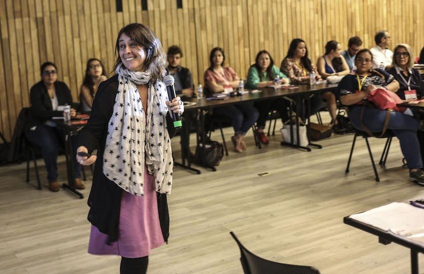 Carolina Robino, directora de BBC Mundo, en un taller durante el Festival Gabo 2018. Foto: Archivo Fundación Gabo.