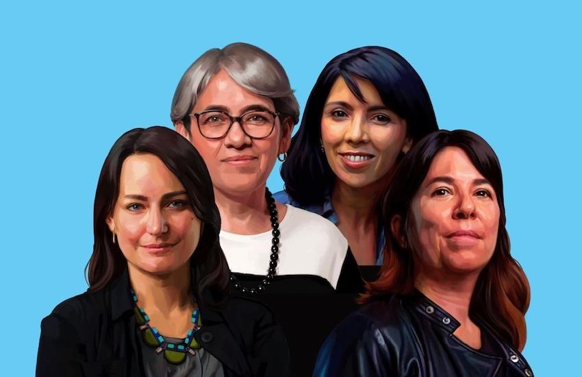 De izquierda a derecha: Carolina Guerrero, Yolanda Ruiz, Paula Molina y María O'Donnell. Ilustración: Silvana Bossa.