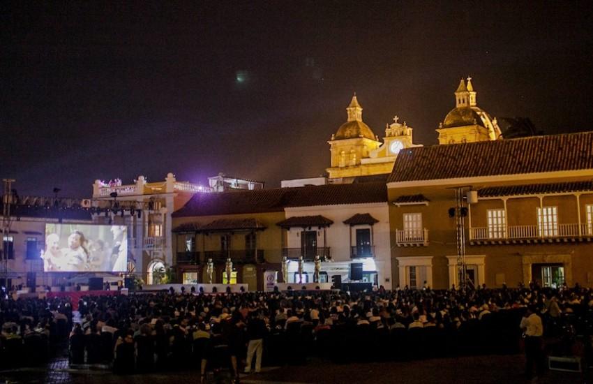 Proyección durante el Festival Internacional de Cine de Cartagena 2014. Foto: Joaquín Sarmiento/FNPI.
