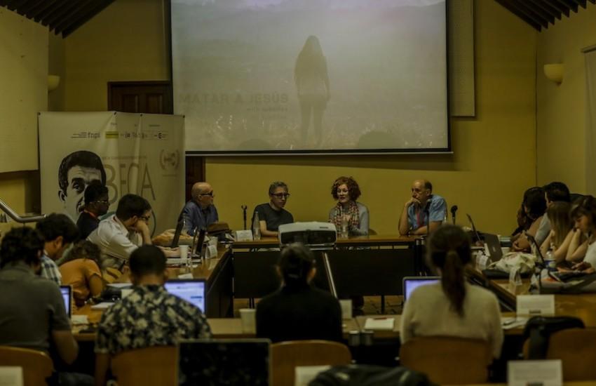 Héctor Feliciano, David Trueba, Stephanie Zacharek and Jonathan Levi, maestros de la Beca Gabo. Foto: Joaquín Sarmiento / FNPI