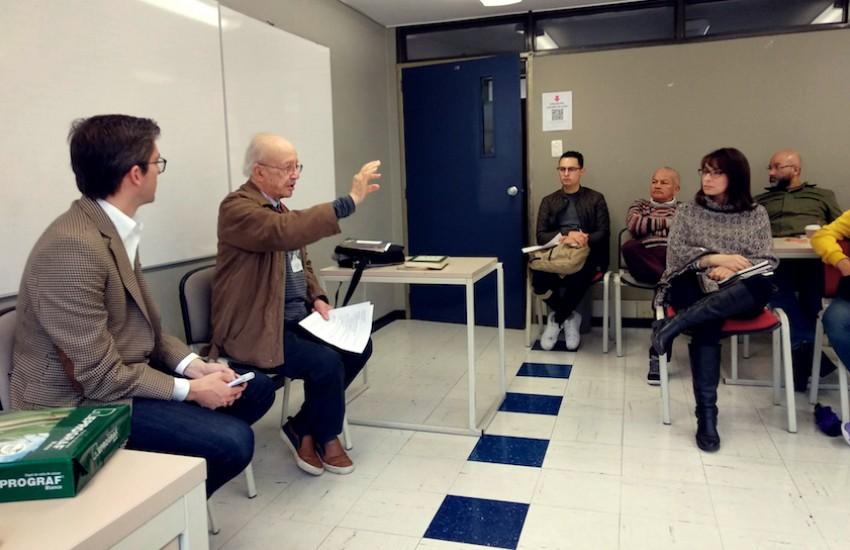 Hernán Restrepo y Javier Darío Restrepo dirigieron la actividad, que se realizó en la Universidad Jorge Tadeo Lozano.